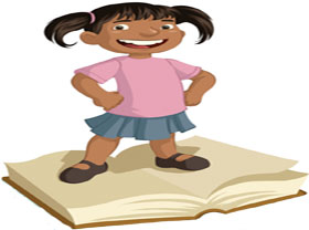 Child standing on open book